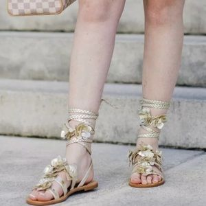 [Tory Burch] Gold Gladiator Flower Sandals